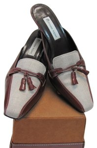 Etienne Aigner Leather Good Condition Size 10.00 Wide Brown, Neutral Mules