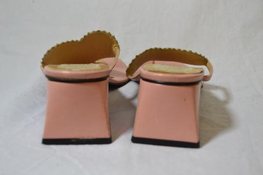 Todd Oldham Lerre Pink and White Chunk Square Sandals