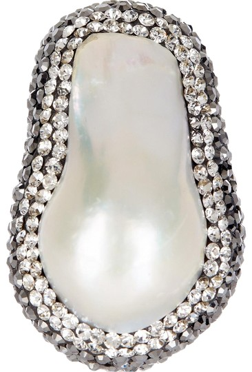 Zsa Zsa Jewels Baroque Pearl Hematite & Swarovski Crystal Sterling Silver 5th Avenue Ring
