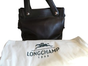 Longchamp Leather Satchel Tote in BROWN