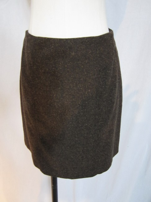 Herringbone Womens Brown Herringbone Wool Silk Blend 2pc Skirt Suit Leather Trim Size Small
