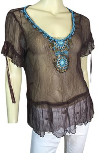 Arden B. Embellished Beaded Chiffon Top Brown