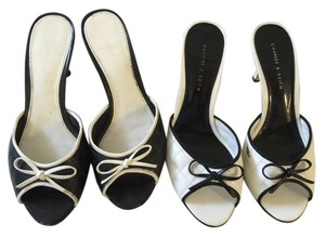 DOES NOT APPLY Open Toe Chanel Coco Cc Chanel Heels BLACK & WHITE Mules