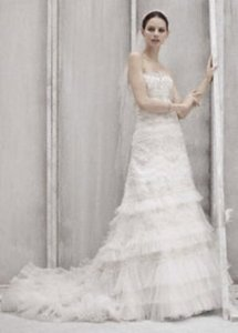 Oleg Cassini Oleg Cassini Strapless Lace Gown Cwg352 Wedding Dress