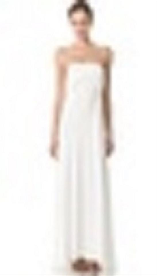 Donna karan bustier evening gown with cascading folded for Donna karan wedding dresses