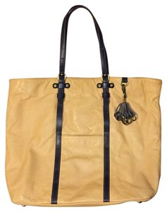 Anthropologie Leather Carry On Pilcro Tote in Light yellow/tan
