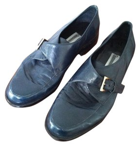 Etienne Aigner Classic Buckles Leather Navy Flats