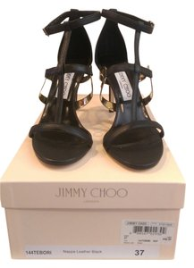 Jimmy Choo Black Leather with Gold Detail Sandals