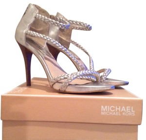 Michael Kors Metallic Leather Silver Formal