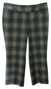 Express Capris White plaid with green stripes