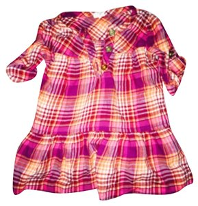 Old Navy short dress Plaid / orange purple white on Tradesy
