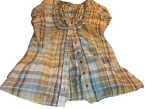 Max Rave Ruffle Button Down Shirt Plaid Multi-colored