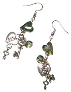Other New Handmade Crystal Heart Lock & Key Charm Earrings Silver Tone J1373