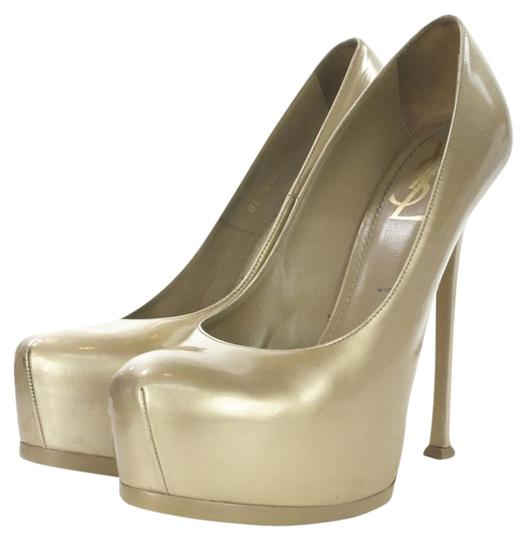 Saint Laurent Ysl Tribtoo Platform French Gold Pumps