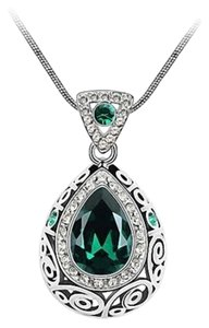 New 14K White Gold Filled Cubic Zirconia Crystal Necklace J1374