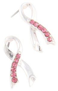 silver pink ribbon breast cancer post earrings