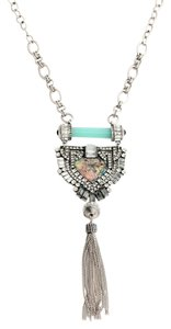 Irridescent Pave Stone Pendant Tassel Necklace