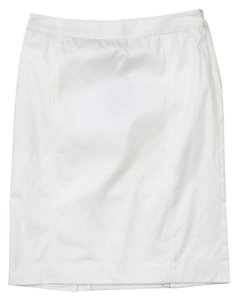 Burberry White Cotton Blend Pencil Skirt