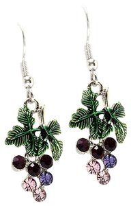 crystal grape drop earrings