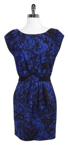 Lela Rose short dress Blue Black Print Wool Blend on Tradesy