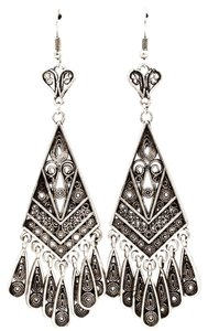 antiqued silver deco chandelier earrings