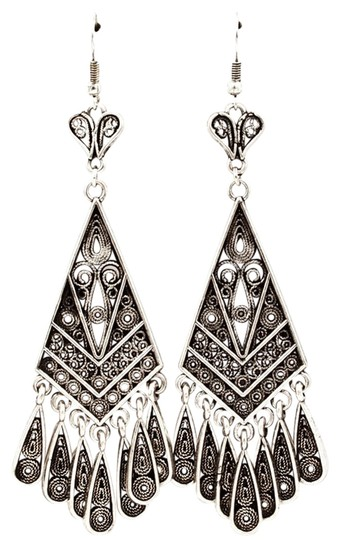 Other antiqued silver deco chandelier earrings