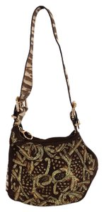 Fendi Brown Suede Embroidered Shoulder Bag