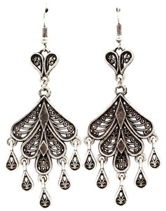 antiqued silver teardrop chandelier earrings