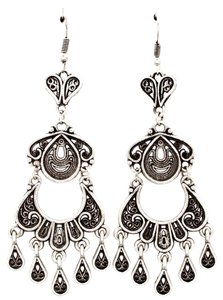 antiqued silver looped chandelier earrings