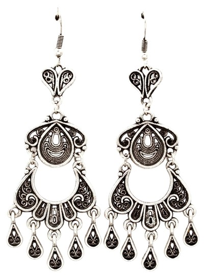 Other antiqued silver looped chandelier earrings