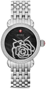 Michele Nwt Michele CSX Jardin Diamond, Black Mother of Pearl with Diamond Rose Dial (224 Diamonds 0.91ct) watch Stainless Steel Silver Tone Bracelet $2795