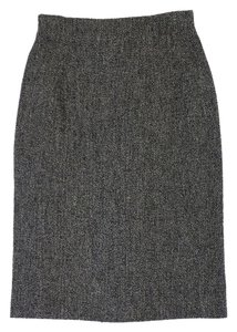 Max Mara Grey Wool Blend Tweed Pencil Skirt