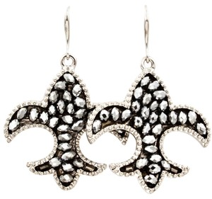 studded metallic fleur-de-lis drop earrings