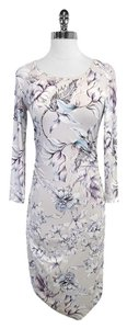 Reiss short dress Grey Purple Floral Print on Tradesy