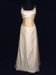 "Ivory/Gold Silk Satin ""Anais"" Gown with Two Toned Ivory/Gold Skirt Wedding Dress Size 8 (M)"