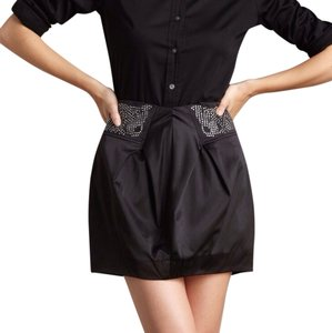 Romeo & Juliet Couture Crystal Silk Bubble Mini Skirt Black