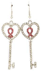 crystal key & ribbon breast cancer drop earrings