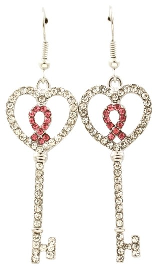 Other crystal key & ribbon breast cancer drop earrings
