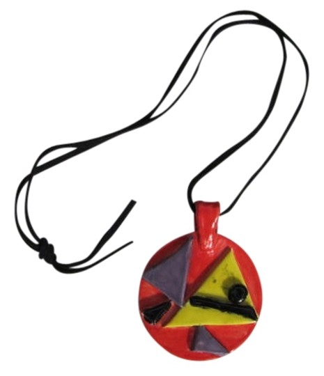 Preload https://img-static.tradesy.com/item/739443/redish-orange-yellow-purple-black-custom-ceramic-pendant-on-leather-cord-necklace-0-0-540-540.jpg