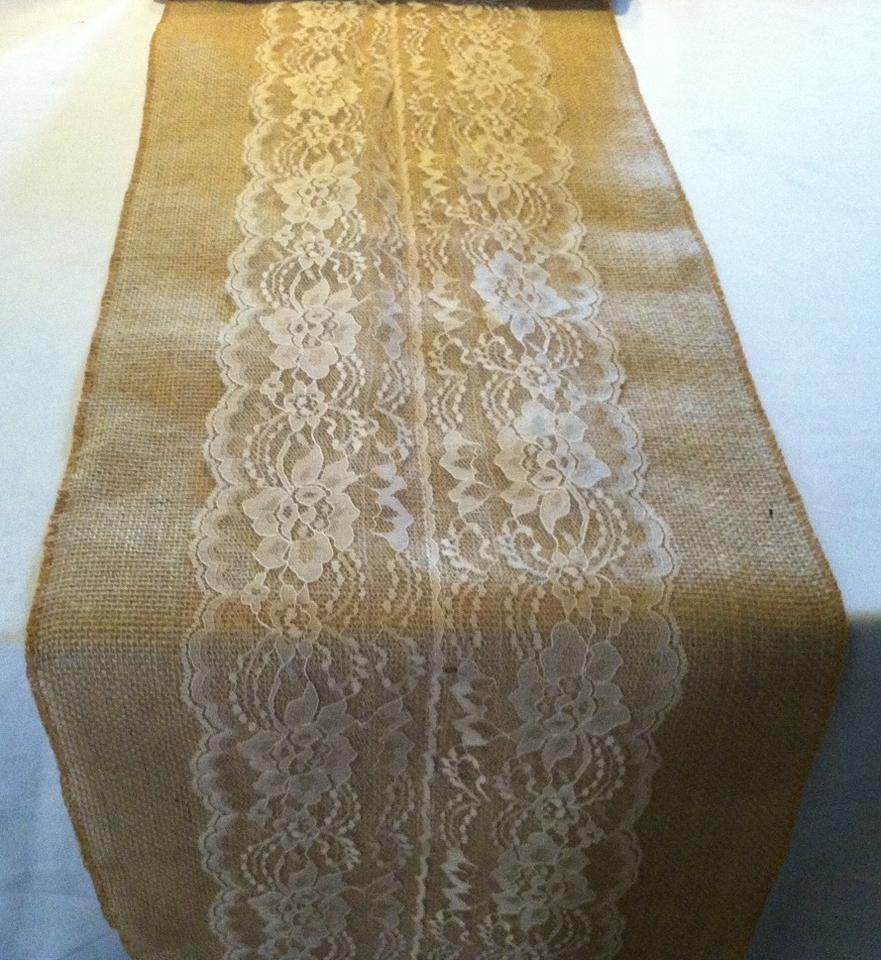 Lot Of 8 84 Burlap And Ivory Lace Table Runners Tradesy Weddings