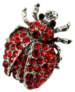 Red crystal beetle pin