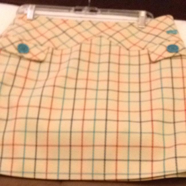 Marc Jacobs Skirt Beige With Red And Blue Plaid Stripes