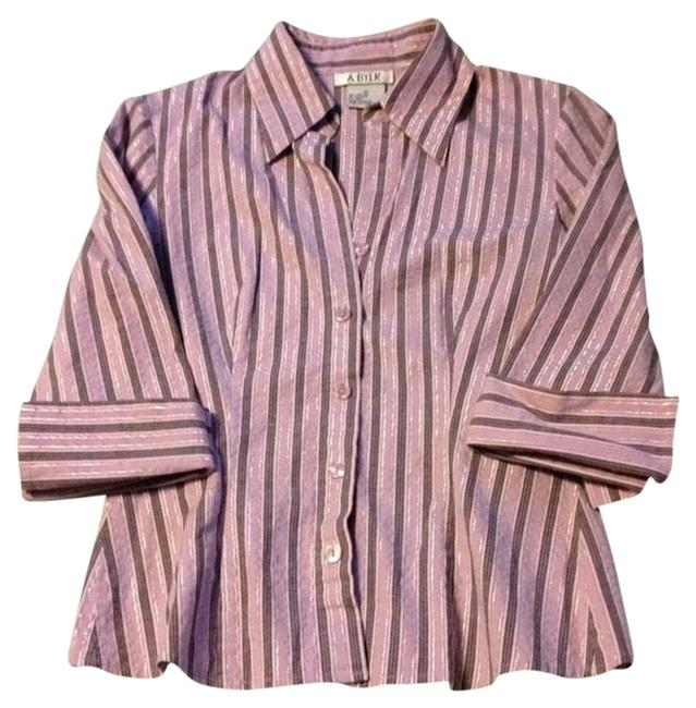 A. Byer Sparkle Quarter Sleeve Fitted Button Down Shirt pink, white, silver