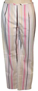 Peck & Peck Straight Pants White, Brown, Pink
