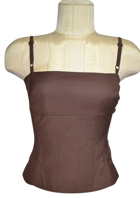 Item - Brown Spaghetti Strap Snakeskin Stamped Stretch Material Blouse Size 4 (S)
