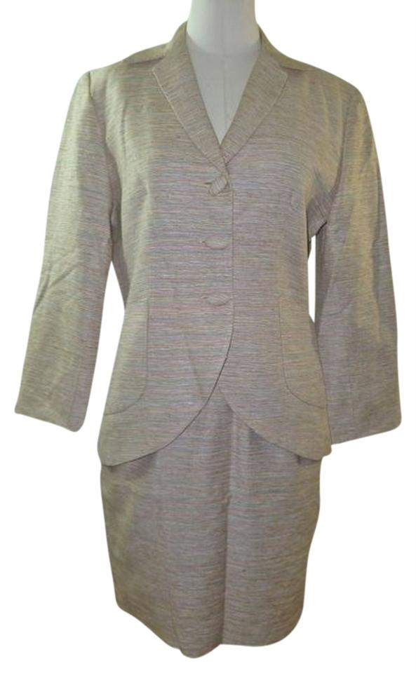Cream Ladies New York Jacket Color Silk 2 Piece Skirt Suit Size 4 S