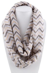 Unknown Brown and Khaki Chevron Infinity Loop Scarf