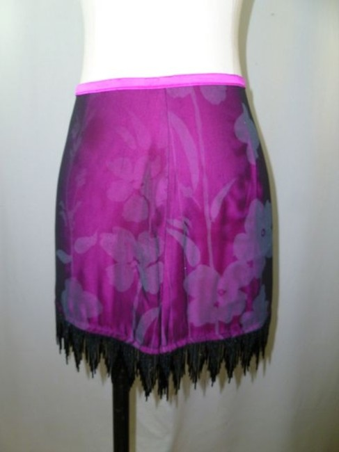 Other Ladies Dress William B Two Piece Outfit Silk Magenta Black Floral Print Size 4/6