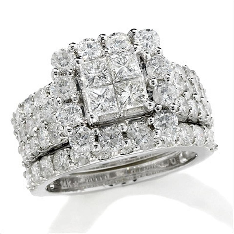 White White Gold 4 Ct T W Princess Cut Quad Diamond