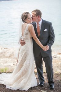 Allure Bridals Champagne Gown with Ivory Lace Applique English Net and Soft Satin Amazing Wedding Dress Size 4 (S)